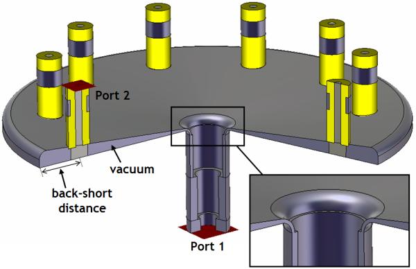 CST MWS Model View of 10-way Combiner