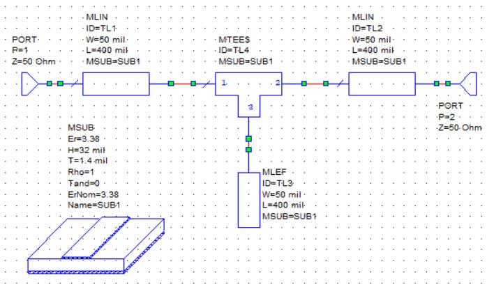 مدار مایکرواستریپ در نرمافزار AWR